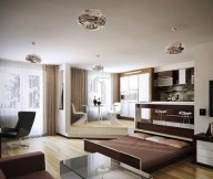 Brown Pull Out Bed Brown Sofa White Brown Cabinets Black Chair Glass White Table