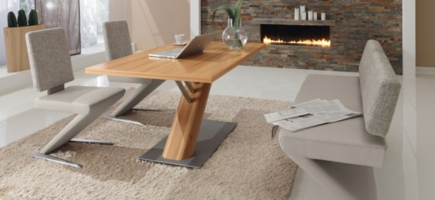 Brown Rug Beige Chairs Wooden Dining Table White Floor