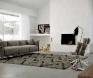 Brown Rug White Wall Grey Sofa Modern Fireplace