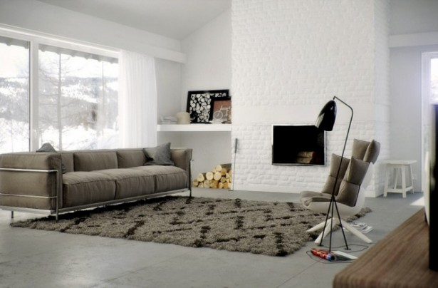 Brown Rug White Wall Grey Sofa Modern Fireplace