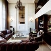 Brown Sofa Black Cabinets White Wall Panel Classic Hanging Lamp