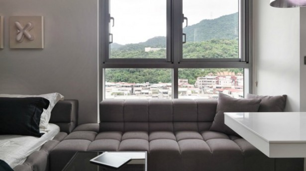 Brown Sofa Brown BEd White Extended Table Wide Windows