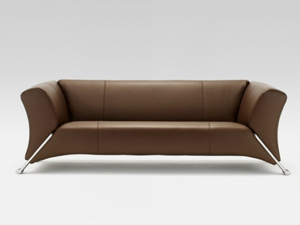 Brown Sofa Metal Legs Minimalist Look Modern Sense