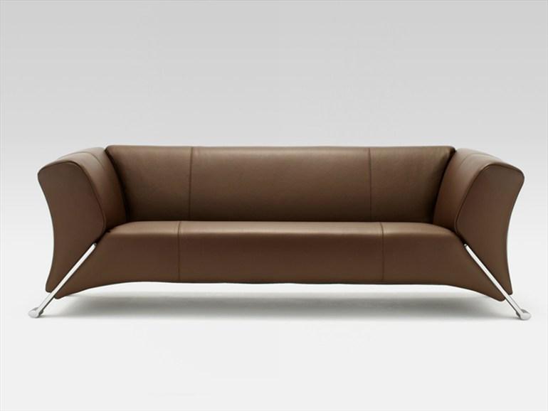 Brown Sofa Metal Legs Minimalist Look Modern Sense