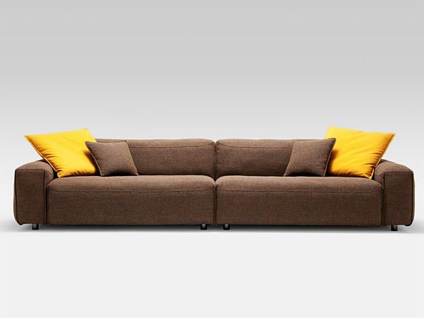 Brown Sofa Minimalist Look Yellow Cushions modern Design