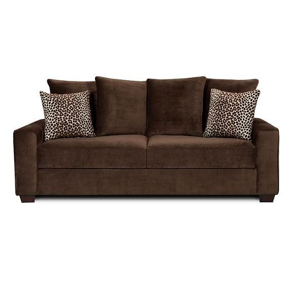 Brown Sofa Velvet Touch Leopard Motive Cushions Minimalist Look