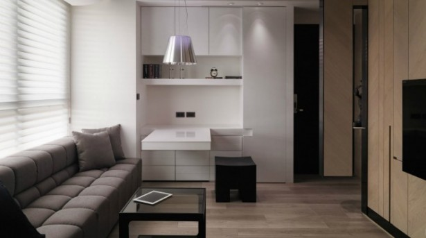 Brown Sofa White Cabinets Silver Hanging Lamps White Cabinet White Extended Table