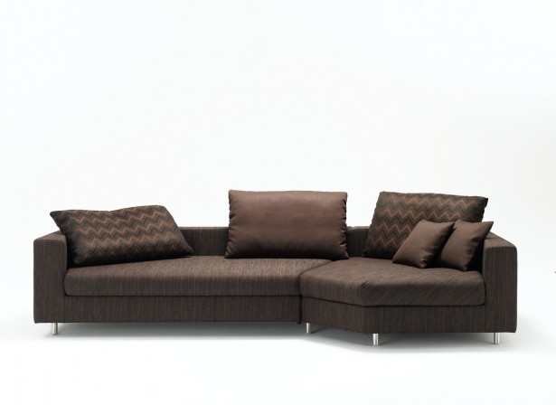Brown Sofa Zigzag Motive Cushions Metal Legs Small Couches