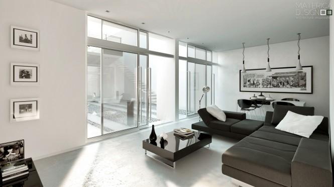 Brown Sofas White Floor Glass Sliding Doors White Ceiling Brown Glass Table