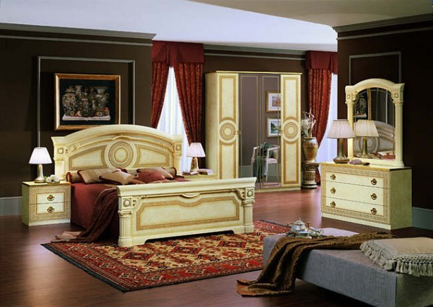 Brown Wall Cream Bed Frame Red Curtains Classic Theme
