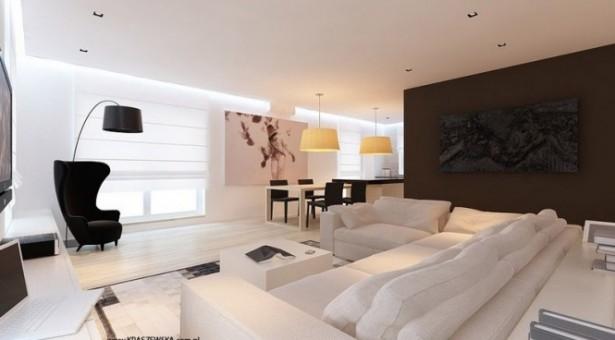 Brown Wall Panel White Sofas Balck Sofa Black Arh Lamp