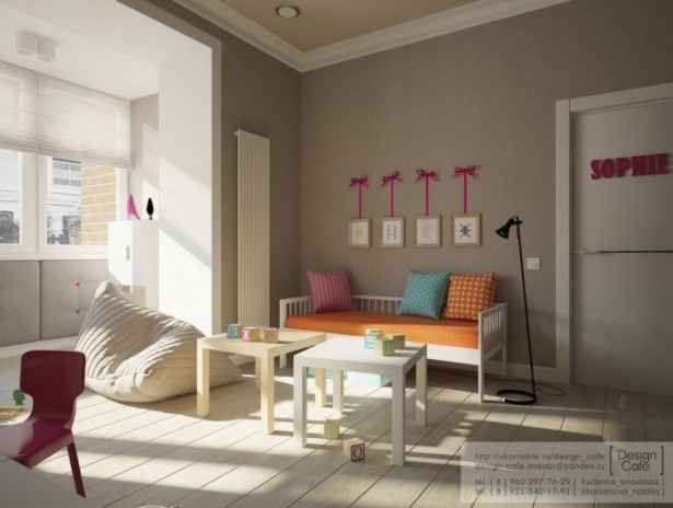 Brown Wall Pink Chair Wooden Floor White Table White Door