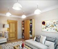 Brown Wall White Hanging Lamps Wooden Cabinets Wooden Door Cream Sofa Polka Dot Carpet