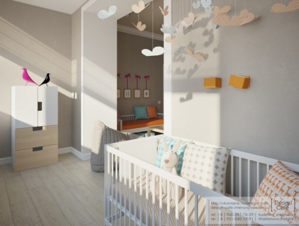Brown Wall Wooden Floor White Baby Box White Wooden Cabinets