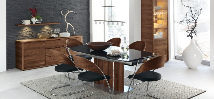 Brown Wooden Cabinets Grey Carpet Black Glass  Dining Table Black Wooden Chairs