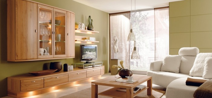 Brown Wooden Cabinets White Sofas Green Wall Brown Wooden Table