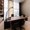 Brown Wooden Desk Black Chairs WOoden Floor Wooden Bookshelves
