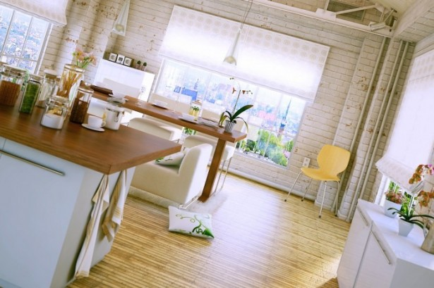 Brown Wooden Floor White Brick Wall Wooden Dining Table White Chairs