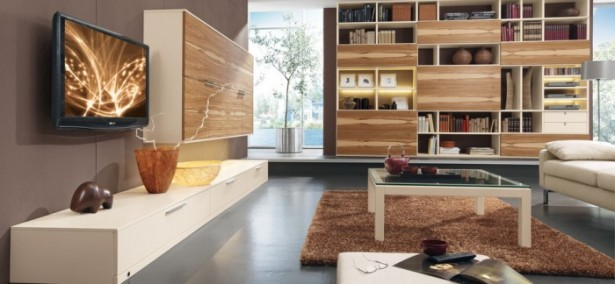Brown Wooden Shelves WHite Cabinet White Glass Table Brown Rug