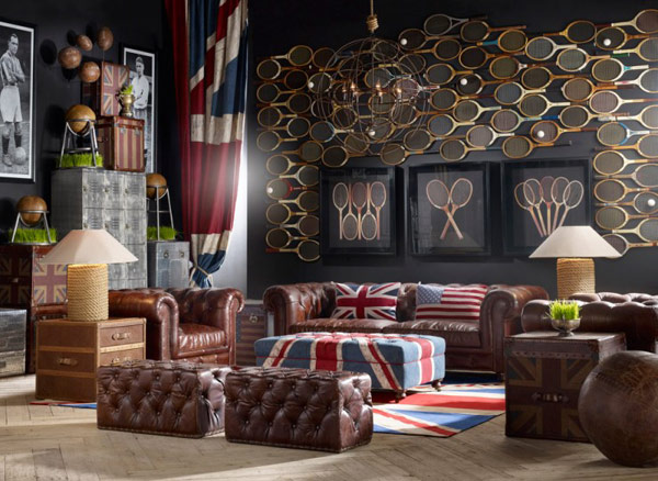 Brown leather classic sofas unique mural Vintage Room Designs Creative and Inspiring Eclectic