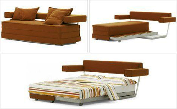 Brown-sofa-cushions-Inspiring-transformer-bed-Stripes-pattern-bedsheet-Futuristic-bed-headboard