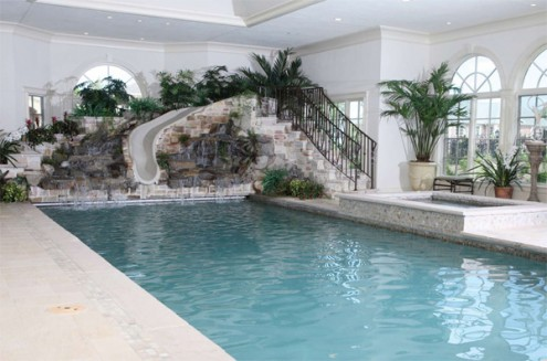 Brown stairs Unique Indoor Pools glass window white slide