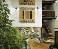Central Courtyard with beautiful shutters Courtyard Design and Landscaping