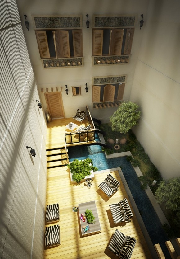 Central-courtyardn ideas aerial view of design Courtyard Design and Landscaping