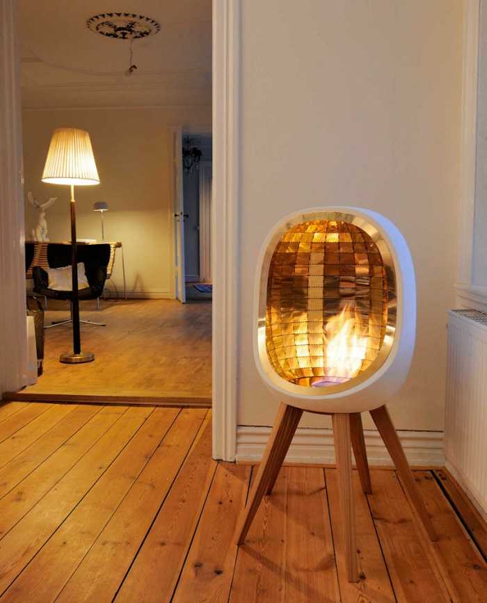 Chic Shape White Color Sparkling Sense Electric Fireplace