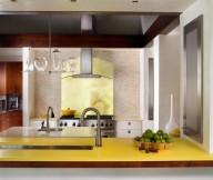 Chic barstool Cool yellow kitchen island Pool house