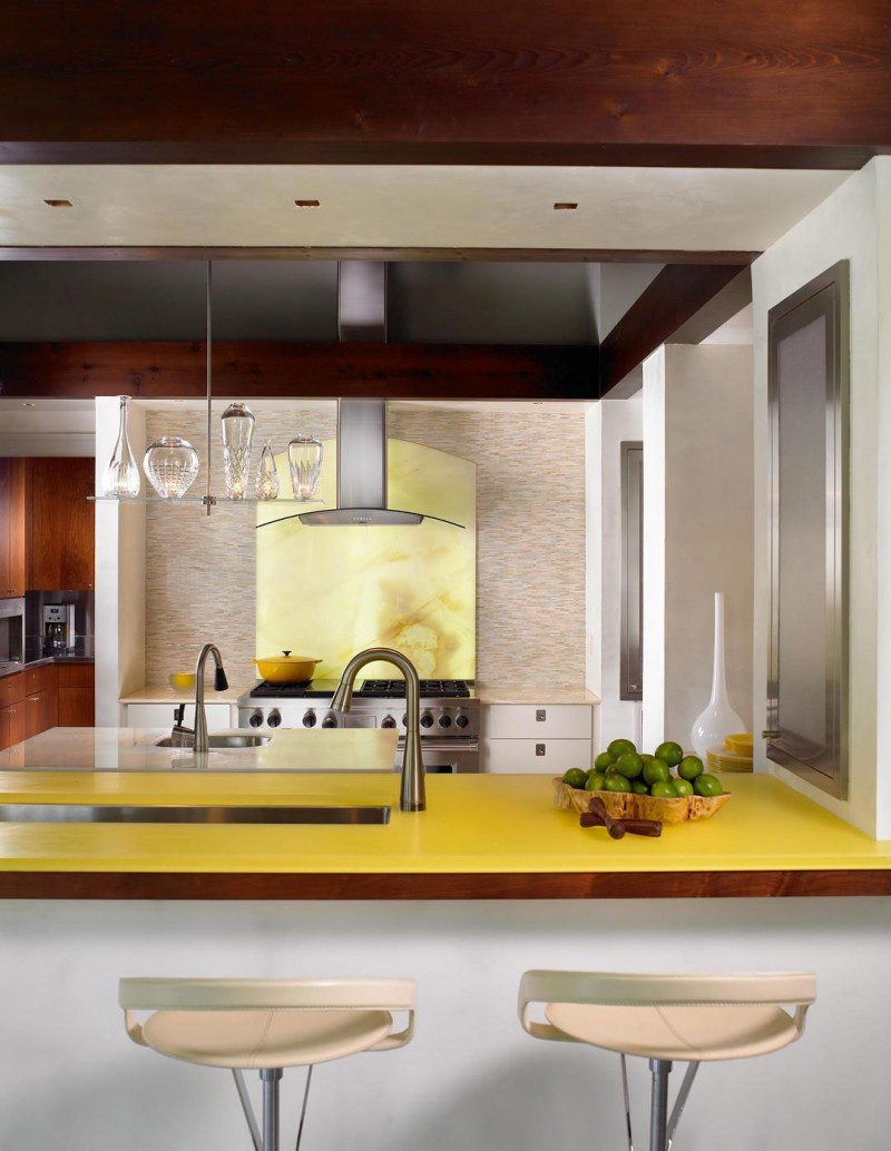 Chic barstool Cool yellow kitchen island Pool house