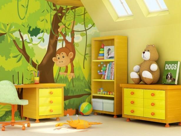 Childrens Photo Wallpapers Design yellow drawers bear dool