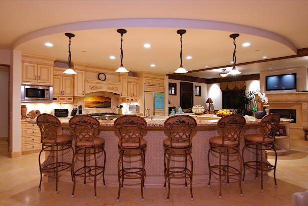 Classic Bar Stools Minimalist Chandeliers Cream Floor Hidden Lamps