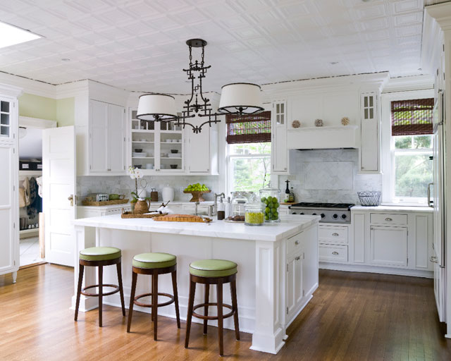 Classic Bar Stools White Kitchen Island Wooden FLoor WHite Cabinets