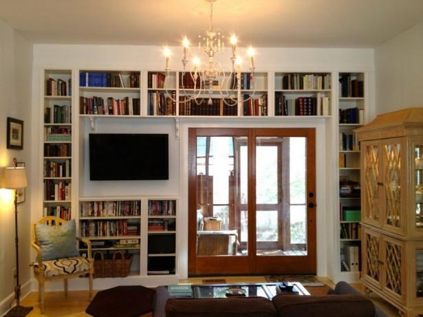 Classic Chandelier White Wall Bookshelf Wooden Floor Wooden Door Pane
