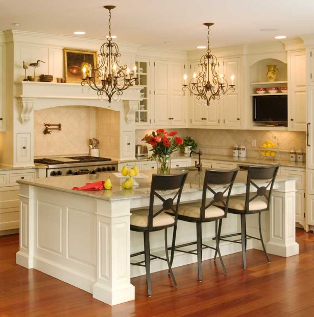Classic Chandeliers White Kitchen Island Conventional Stove Wooden Floor