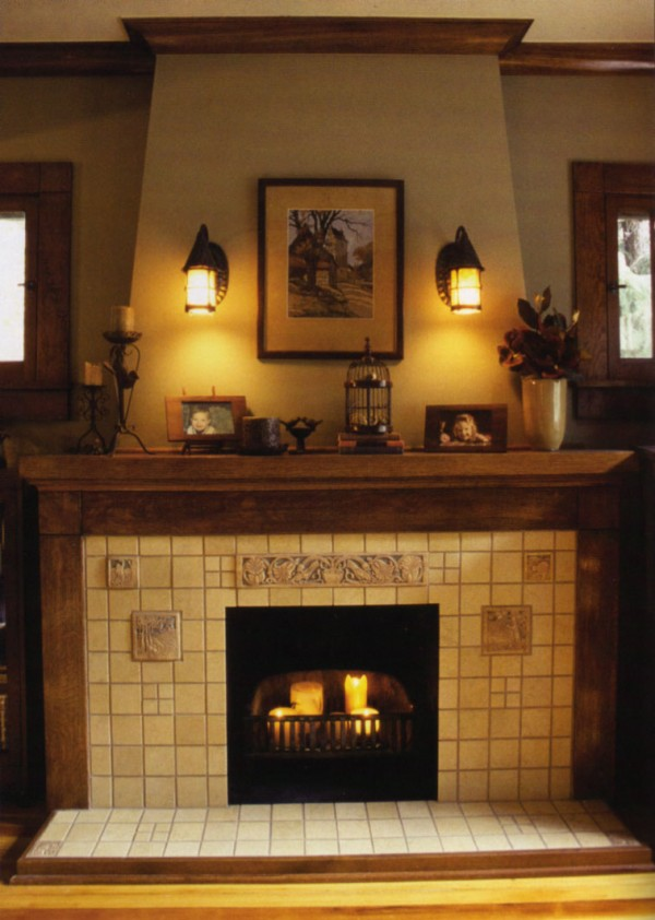 Classic Fireplace Yellow Light Wall Lamps Wooden Panes Wooden FLoor