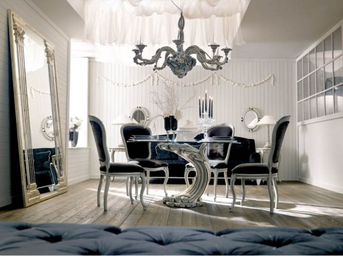 Classic Italian Interiors black chairs futuristic table design