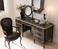 Classic Italian Interiors brown leather chair black wooden cabinet