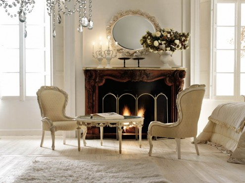 Classic Italian Interiors unique fireplace classic round mirror