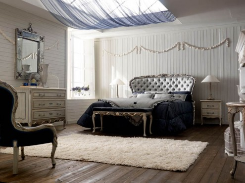 Classic Italian Interiors wooden floor dark blue chair and bedroom
