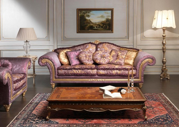 Classic Look Purple Luxurious Sofa Wooden Coffee Table Classic Standing Lamp