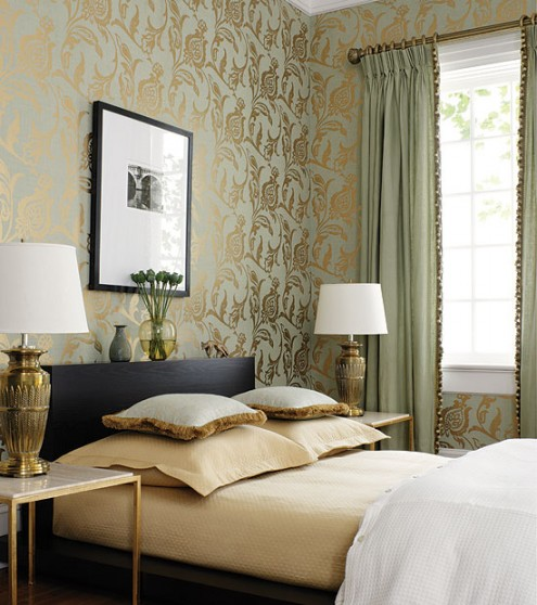 Classic Room Wallpapers mural wall soft grey curtain classic lamps