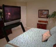 Classic-dressing-table-Fresh-indoor-plant-Modern-TV-setup-Floral-pattern-quilt