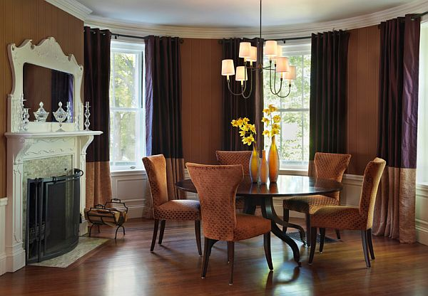 Classic firplace eclectic-dining-room-with-round-table