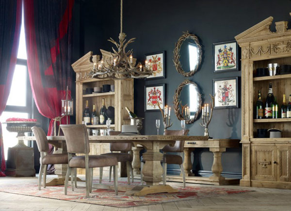 Classic mirror Vintage Room Designs  wooden cabinets black wall Creative and Inspiring Eclectic