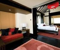 Classic-sofa-Unique-low-profile-bed-Preety-artificial-flower-Dark-floor