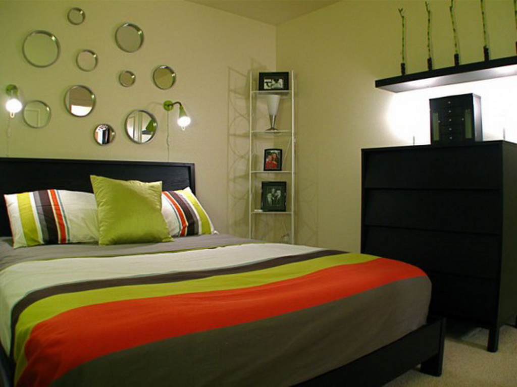 Colorful Theme Small Bedroom Ideas with Black Cupboard