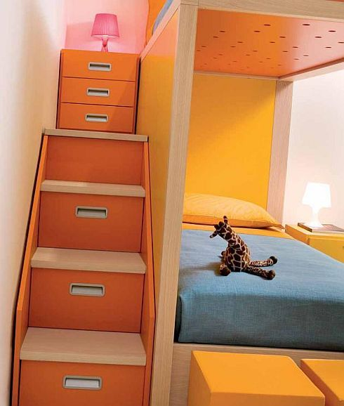 Colorful loft bed Small colorful staircase Giraffe doll Great table lamp