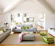 Colorful sofa cushions Modern grey sofa Box coffee table Unusual loft